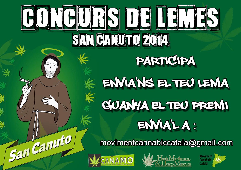 """1º concurso de lemas """"Pancartas Cannábicas"""" – San Canuto 2014 – Moviment Cannàbic Català"""
